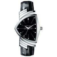 Hamilton H24411732 Men's Ventura Triangular Leather Strap Watch Black