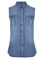 Karen Millen Soft Denim Sleeveless Shirt Dark Denim