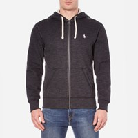 Polo Ralph Lauren Men's Zip Through Hooded Athletic Fleece Black Marl Heather