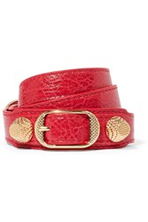 Balenciaga Giant Triple Tour Textured Leather And Gold Tone Bracelet Crimson