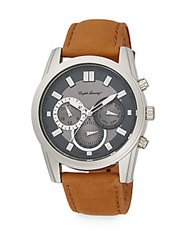 English Laundry Stainless Steel Chronograph Tan Leather Strap Watch Tan Silver