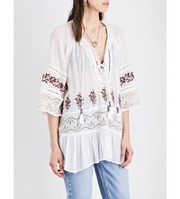 Free People Cotton Gauze Peasant Blouse Ivory Combo