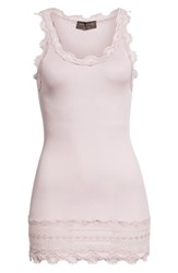 Rosemunde Silk And Cotton Rib Knit Tank Violet Ice