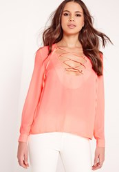 Missguided Scallop Lattice Blouse Coral Pink