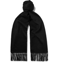 Johnstons Of Elgin Fringed Cashmere Scarf Black