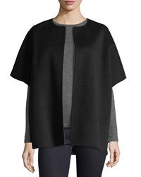Neiman Marcus Luxury Double Faced Cashmere Cocoon Coat Charcoal Taupe