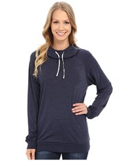 Icebreaker Sphere Long Sleeve Hood Admiral Heather Snow Women's Long Sleeve Pullover Navy