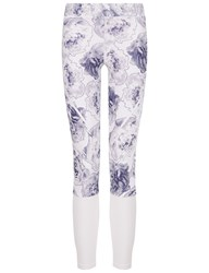 Adidas By Stella Mccartney White And Navy Floral Running Tights