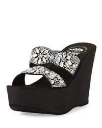 Premium Collection By Yellow Box Paloma Embellished Platform Wedge Sandal Clear