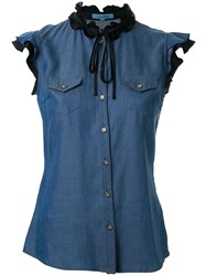 Guild Prime Ruffled Lace Button Down Sleeveless Shirt Blue