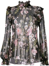 Giambattista Valli Sheer Floral Print Blouse Black