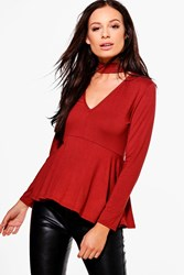 Boohoo Long Sleeve Choker Peplum Rust