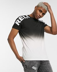 Religion Colour Fade Logo T Shirt In Black And Pink