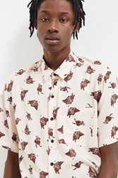 Urban Outfitters Uo Wolf Mania Rayon Short Sleeve Button Down Shirt White