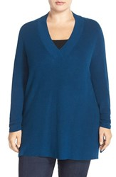 Plus Size Women's Sejour V Neck Sweater Blue Poseidon