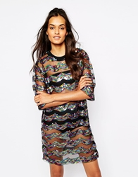 Story Of Lola Festival Big Tee Sequin Dress In Sheer Fabric Blackmulti