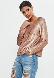 Missguided Petite Exclusive Gold Long Sleeve Sequin Top