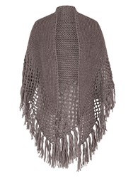 Chesca Large Fringed Shawl With Crocheted Panel Brown