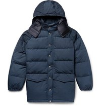 Battenwear Quilted Cotton Blend Canvas Hooded Down Jacket Navy