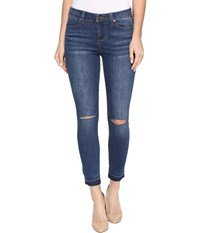 Liverpool Avery Crop With Released Hem And Slit Knee On Vintage Super Comfort Stretch Denim In Edison Blue Destruct Edison Blue Destruct Women's Jeans
