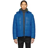 Yves Salomon Blue Leather Jacket