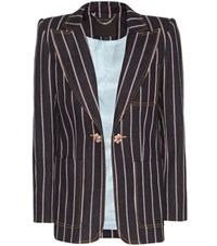 Marc Jacobs Striped Denim Blazer Blue