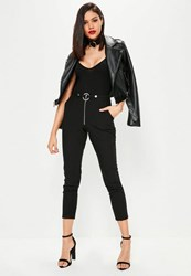 Missguided Tall Black Harness Detail Cigarette Trousers