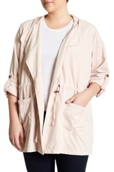 Live A Little Tie Front Anorak Plus Size Pink