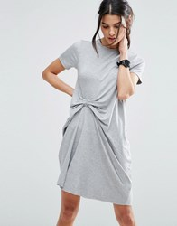 Asos T Shirt Dress With Gathered Front Grey Marl