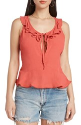 Willow And Clay Peplum Camisole Coral