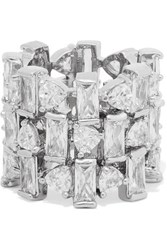Kenneth Jay Lane Silver Tone Cubic Zirconia Ring 8