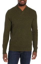 Schott Nyc Waffle Knit Thermal Wool Blend Pullover Moss Green