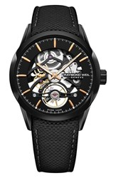 Raymond Weil Freelancer Skeleton Automatic Leather Strap Watch 43Mm Black