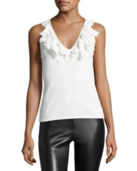 Cinq A Sept Cantaire Ruffle V Neck Tank Top Ivory