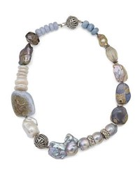 Stephen Dweck Smoky Quartz And Blue Lace Agate Beaded Necklace