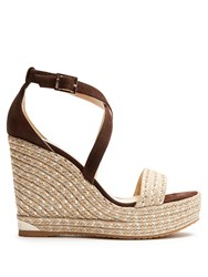 Jimmy Choo Portia 120Mm Suede Wedge Espadrilles Brown Gold