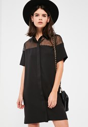Missguided Black Organza Short Sleeve Shirt Dress