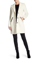 Andrew Marc New York Genuine Leather Trim Wool Blend Charlotte Coat White