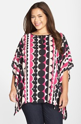 Vince Camuto 'Retro Dots' Keyhole Poncho Top Plus Size Ruby Pink