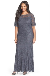 Xscape Evenings Short Sleeve Shimmer Lace Gown Plus Size