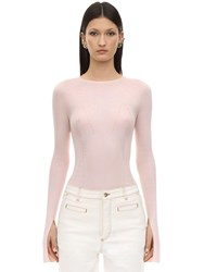 Lanvin Cashmere And Silk Rib Knit Sweater Light Pink
