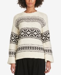 Polo Ralph Lauren Geometric Crew Neck Sweater Black Cream