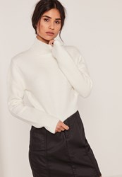Missguided White Turtle Neck Fluffy Sweater Ivory