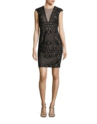 Betsy And Adam Lace Sheath Dress Black