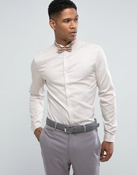 Asos Wedding Skinny Sateen Shirt In Off White With Wing Collar And Double Cuff White