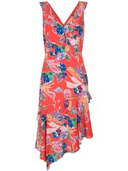 Milly Alexis Bouquet Floral Print Dress Red