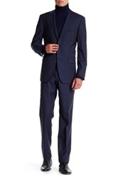Ike Behar Navy Sharkskin Two Button Notch Lapel Wool Suit Blue