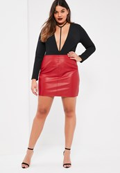 Missguided Plus Size Red Faux Leather Mini Skirt