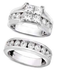 Macy's Engagement Ring And Wedding Band 14K White Gold And Diamond Bridal Set 3 Ct. T.W.