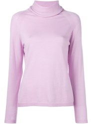 Les Copains Classic Roll Neck Jumper Pink And Purple